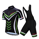 cheap Triathlon Clothing-TELEYI Men's Short Sleeve Cycling Jersey with Bib Shorts - White Black Bike Clothing Suit Moisture Wicking Quick Dry Sports Polyester Mountain Bike MTB Road Bike Cycling Clothing Apparel / Stretchy