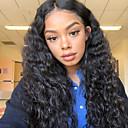 olcso Emberi hajból készült parókák-Remy haj Csipke Csipke eleje Paróka Aszimmetrikus frizura Rihanna stílus Brazil haj Afro Kinky Deep Curly Fekete Paróka 130% 150% 180% Haj denzitás Puha Klasszikus Női Legjobb minőség Hot eladó