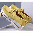 hesapli Kadın Düz Ayakkabıları ve Makosenleri-Kadın's Ayakkabı Deri İlkbahar & Kış Mokasen & Bağcıksız Ayakkabılar Dolgu Topuk Günlük için Mavi / Pembe / Haki