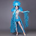 billiga Zentai-Spanska damen Kostym Dam Vuxna Flamenco Halloween Karnival Maskerad Festival / högtid Pajljett Konstädelstenar outfits Grön / Blå / Rosa Fjädrar