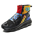 cheap Men's Sneakers-Men's Comfort Shoes Leather Winter Sporty / Casual Sneakers Non-slipping Color Block Black / Rainbow