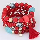 cheap Bracelets-Women's Bead Bracelet Beads Tassel Bohemian European Resin Bracelet Jewelry Orange / Red / Light Blue For Party Gift