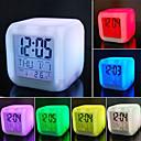baratos Desenhos Animados Relógios de Parede-7 cores led mudando despertador digital mesa termômetro noite brilhante cubo lcd relógio