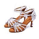 رخيصةأون أحذية لاتيني-نسائي أحذية رقص ستان كعب بريق مميز / مشبك / تفاصيل كريستال كعب مثير مخصص أحذية الرقص أبيض / أسود / بني