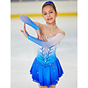 preiswerte Ballettbekleidung-Eiskunstlaufkleid Damen Mädchen Eislaufen Kleider Blasses Blau Halo-Färbung Elasthan Hochelastisch Wettbewerb Eiskunstlaufkleidung Handgemacht Mit Steinen verziert Strass Langarm Eislaufen