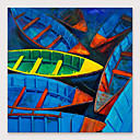 abordables Peintures Abstraites-Peinture à l'huile Hang-peint Peint à la main - Abstrait Moderne Inclure cadre intérieur