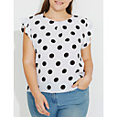 cheap Wooden Puzzles-Women's Plus Size Butterfly Sleeves Blouse - Polka Dot Print Navy Blue XXXL / Summer / Ruffle