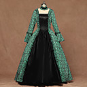 cheap Historical & Vintage Costumes-Queen Queen Elizabeth Vintage Rococo Victorian Costume Women's Dress Green Vintage Cosplay Cotton Fabric Party Stage Long Sleeve Bishop Sleeve Square Floor Length Ball Gown Plus Size