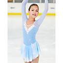 cheap Synthetic Capless Wigs-Figure Skating Dress Women's Girls' Ice Skating Dress Blue / White Spandex High Elasticity Competition Skating Wear Handmade Classic Fashion Ice Skating Figure Skating