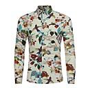 abordables Camisas de Hombre-Hombre Estampado Camisa, Cuello Italiano Floral Negro XL-US38 / UK38 / EU46 / Manga Larga