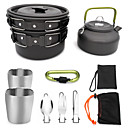 cheap Camp Kitchen-ARDI® Camping Cookware Mess Kit Camping Pot Dinnerware Set Pot Rack & Accessories Utensils Lightweight for 2 - 3 person Stainless steel Aluminium Alloy Outdoor Hiking Camping Black Orange Green