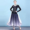 baratos Roupas de Dança de Salão-Dança de Salão Vestidos Mulheres Espetáculo Chiffon Aveludado Combinação / Cristal / Strass Manga Longa Vestido / Colares