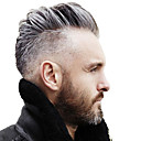 cheap Human Hair Capless Wigs-Men's Human Hair Toupees Straight 100% Hand Tied Soft / Dark Gray