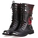 זול מגפיים לגברים-בגדי ריקוד גברים מגפיי קרב PU סתיו חורף בריטי מגפיים נושם מגפיים באורך אמצע - חצי שוק שחור