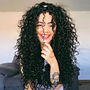 cheap Human Hair Capless Wigs-Synthetic Lace Front Wig Curly / Wavy Black Middle Part Natural Black Synthetic Hair 24 inch Women's Party / Synthetic / Easy dressing Black Wig Long Lace Front / Yes