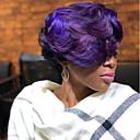 お買い得  人工毛キャップレスウィッグ-人工毛ウィッグ ウェーブ スタイル サイドパート キャップレス かつら パープル Black / Purple 合成 6 インチ 女性用 新参者 / ブラックアメリカン風ウィッグ パープル / オンブル' かつら ショート ナチュラルウィッグ
