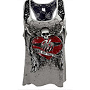 cheap Synthetic Lace Wigs-Women's Plus Size Tank Top - Skull Lace Strap Gray US12 / Spring / Summer / Fall