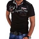billige Fiskesnører-Tynn Skjortekrage EU / USA størrelse T-skjorte Herre - Ensfarget, Trykt mønster Hvit