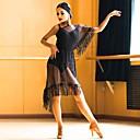 זול הלבשה לריקודים לטיניים-ריקוד לטיני תלבושות בגדי ריקוד נשים הצגה צורני / טול פרנזים שרוולים קצרים / סרבל תינוקותבגד גוף / שמלה