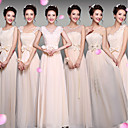 זול שמלות שושבינה-מעטפת \ עמוד צווארון V עד הריצפה שיפון שמלה לשושבינה  עם תחרה על ידי LAN TING Express