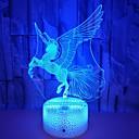 halpa Valo-tarvikkeet-1kpl Unicorn 3D-yövalo RGB USB Sievä / Uusi malli / Vaihtuva väri <5 V