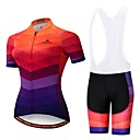 cheap Cycling Jersey & Shorts / Pants Sets-Miloto Women's Short Sleeve Cycling Jersey with Bib Shorts - Orange+White Black / Orange Bike Padded Shorts / Chamois Clothing Suit Breathable 3D Pad Reflective Strips Sports Lycra Multi Color