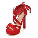 abordables Sandales pour Femme-Femme Daim Printemps été Classique / British Sandales Talon Bottier Beige / Rouge / Rose / Mariage / Soirée & Evénement
