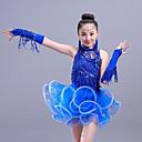 preiswerte Ballettbekleidung-Latein-Tanz / Tanzkleidung für Kinder Austattungen Mädchen Training / Leistung Polyester / Gitter Kaskaden Rüschen / Quaste / Pailetten Ärmellos Kleid / Ärmel