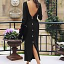 Недорогие Смарт-часы-Жен. Винтаж Уличный стиль Прямое Платье - Однотонный, С разрезами Макси Пыльная роза