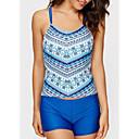 رخيصةأون القمصان وملابس النوم-أزرق L XL XXL طباعة هندسي, ملابس السباحة ثلاثة قطع قطعة واحدة أزرق أحمر أساسي نسائي