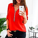 cheap Chandeliers-2019 New Arrival Shirts Women's Plus Size Shirt - Solid Colored Camisas Mujer Chemise Femme V Neck Red XXXL