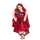 billige Film & TV Kostumer-Lille Rødhætte Maskerade Dame Film Cosplay Rød Kjole Kappe Halloween Karneval Maskerade Bomuld Polyester