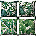 cheap Pillow Covers-4 pcs Cotton / Linen Pillow Case, Botanical Pattern Patterned Tropical