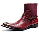voordelige Herenlaarzen-Heren Fashion Boots Nappaleer Herfst winter Informeel / Brits Laarzen Houd Warm Kuitlaarzen Zwart / Rood / Feesten & Uitgaan / Feesten & Uitgaan / Legerlaarzen