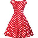 povoljno Stare svjetske nošnje-Žene Veći konfekcijski brojevi Izlasci 1950-te A kroj Haljina - Print, Na točkice V izrez Do koljena