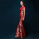 cheap Ethnic & Cultural Costumes-Adults' Women's Chinese Style Wasp-Waisted Dress Chinese Style Cheongsam Qipao For Engagement Party Bridal Shower Tulle Silk Cotton Long Length Dress