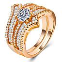 Χαμηλού Κόστους Μοδάτο Δαχτυλίδι-Γυναικεία Λευκό Cubic Zirconia Δίχρωμο Σετ δαχτυλιδιών Χαλκός Επιχρυσωμένο Πιστεύω Μοναδικό Ευρωπαϊκό Ρομαντικό Μοδάτο Δαχτυλίδι Κοσμήματα Χρυσό / Ασημί / Χρυσό Τριανταφυλλί Για Γάμου Δώρο Ημερομηνία