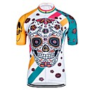 cheap Cycling Jerseys-Men's Short Sleeve Cycling Jersey - White Cartoon Skull Bike Jersey Top Quick Dry Reflective Strips Back Pocket Sports Elastane Tulle Polyster Mountain Bike MTB Road Bike Cycling Clothing Apparel