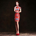 cheap Ethnic & Cultural Costumes-Adults' Women's Designed in China Chinese Style Wasp-Waisted Chinese Style Cheongsam Qipao For Performance Engagement Party Bridal Shower Brocade Above Knee Cheongsam
