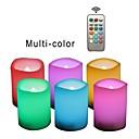 זול קישוט אורות-6pcs LED לילה אור / נרות חסרי אש RGB + חם לחצן מופעל בטיחות / קל לנשיאה / מנורת אטמוספרה