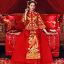 رخيصةأون الأزياء التنكرية التاريخية والقديمة-للبالغين نسائي مصمم في الصين استايل صيني دبور، مخصر Cheongsam من أجل أداء حفلة خطوبة مباركة عروس بوليستر طويل Cheongsam