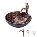 halpa Pesualtaat-Kylpyhuoneen allas / Kylpyhuoneen hana / kylpyhuoneen asennusrengas Antiikki - Karkaistu lasi Pyöreä Vessel Sink