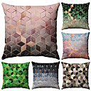 abordables Taies d'Oreiller-6 pcs Coton / Lin Taie d'oreiller, Géométrique Mode Imprimé Géométrique Avec motifs