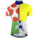 abordables Chalecos de Ciclismo-Malciklo Hombre Manga Corta Maillot de Ciclismo - Azul + amarillo A Lunares Bicicleta Camiseta / Maillot Top Transpirable Secado rápido Reductor del Sudor Deportes Terileno Ciclismo de Montaña