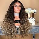 hesapli Sentetik Dantel Peruklar-Sentetik Peruklar Kinky Düz Stil Orta kısım Bonesiz Peruk Sarışın Açık altın Sentetik Saç 28 inç Kadın's Renkli Gradyan Sarışın Peruk Uzun Doğal Peruk