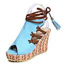 preiswerte Damen Sandalen-Damen PU Sommer Sandalen Keilabsatz Peep Toe Quaste Orange / Beige / Blau