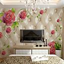 hesapli Duvar Çıkartmaları-duvar kağıdı / Duvar / Duvar Bezi Tuval Duvar Kaplamaları - Yapıştırıcı gerekli Çiçek / Botanik / Art Deco / 3D