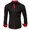 hesapli Erkek Gömlekleri-Erkek Pamuklu Klasik Yaka Gömlek Kırk Yama, Solid / Zıt Renkli Büyük Bedenler Koyu Gri