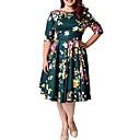 abordables Escarpins-Femme Grandes Tailles Elégant Mi-long Trapèze Robe - Imprimé, Fleur Noir Vert XXL XXXL XXXXL Manches Courtes