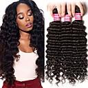 halpa Aitohiusperuukit-6 pakettia Brasilialainen Syvät aallot 100% Remy Hair Weave -paketit Hiukset kutoo Bundle Hair Yksi pakkaus ratkaisu 8-28 inch Luonnollinen väri Hiukset kutoo Muodikas malli Pehmeä Tyylikäs Hiukset